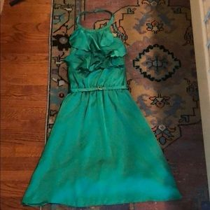 The Limited silk green halter dress